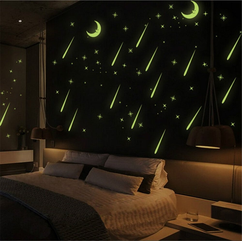 Wall sticker fluorescent moon stars luminous meteor shower for Luminous bedroom