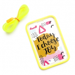 ID Badge Holder Waterproof Bank Card Protector 2.7in x 4.2in Soft Card Cover with Neck Strap yellow one size