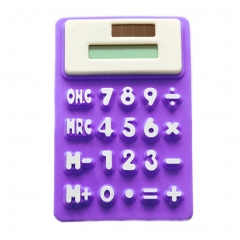 Calculator Creative Solar Power Soft Silicone Desktop Mini Pocket Stationery with 8 Digit purple