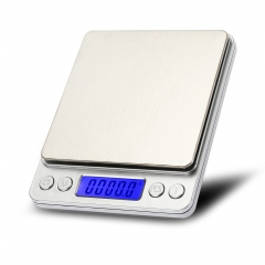 3kg 0.1g Mini Digital Scale Stainless Steel Platform Weighing Tool Silver No Battery