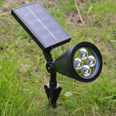 1PCS Solar Powered 4-LED Landscape Lighting Outdoor Spotlight Black As the pictures