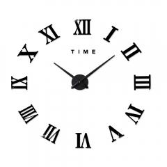 M.Sparkling 3D Mirror Effect Sticker DIY Wall Clock Roman Numeral Scales Black