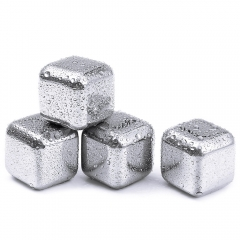 4Pcs Wine Stainless Steel Cooler Stones Ice Cube Soapstone Whiskey Wine Beer Rocks silver 4pcs