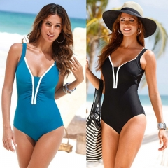 Large size fat size Ladies swimwear,  one-piece swimwear, euramerican hot sale,solid color blue s