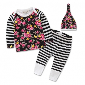 3 PCS Set Kids Baby Floral Girl Long Sleeve Tops Pants Hat Set Outfits Clothing 0-24M MULTI 13-18m