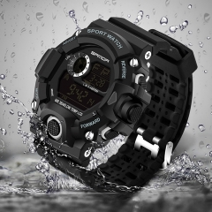 Men LED Digital Backlight Military Dive Waterproof Sports Watches Relogio Masculino Wristwatches black&gold free size