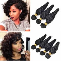 100% virgin Human Hair Wigs Loose Wave Human Hair Weft Natural Black Curly  Hair Extension black 8inch