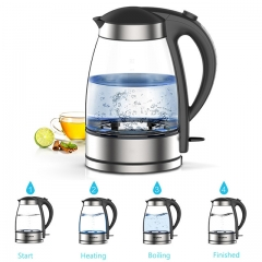 Newest 1.7L Glass Electric Kettle 1800W Health Preserving Pot with Anti Dry Boiling Function black