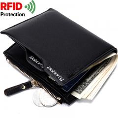 Men RFID Blocking Secure Wallet 6 Card Slots Protective Short Wallet black one size
