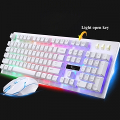 USB Wired  Backlight LED Pro Gaming Keyboard With 2000 DPI Mouse Suits For Computer/laptop white one size