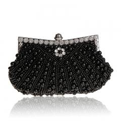 Fashion Women's Sequin Both Side Pearl Beaded Handbag Clutch Purse Handmade Wedding Evening Bags black one size
