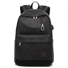 External USB Charge Waterproof Canvas Backpack  Laptop Backpack College Student Bag for Teenagers grey one size