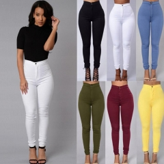 Sexy Women Skinny Stretch Denim Slim High Waist Trousers Leggings Jeans Pants White S