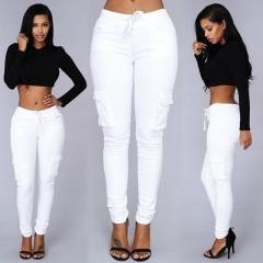Fashion Women Pencil Stretch Casual Denim Skinny Jeans Pants High Waist Trousers white s