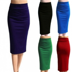 New Ladies Plain Office Womens Stretch Bodycon Midi Jersey Pencil Skirt black m