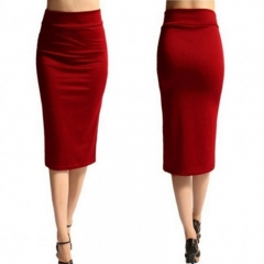 New Ladies Plain Office Womens Stretch Bodycon Midi Jersey Pencil Skirt red s