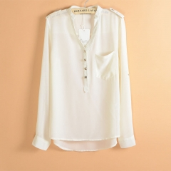 Women's Lady Loose Long Sleeve Chiffon Casual Blouse Shirt Tops Fashion Blouse white s