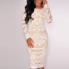Summer Women Sexy Bandage Bodycon Evening Cocktail Party Long Sleeve Midi Dress white s