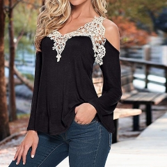 New Fashion Women Long Sleeve Shirt Casual Lace Blouse Loose Tops T-Shirt black s