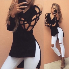 Fashion Womens Summer Long Sleeve Shirt Casual Blouse Loose Cotton Tops T Shirt black s