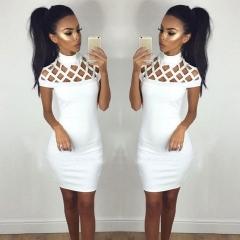 2017 Sexy Women's Bandage Bodycon Sleeveless Evening Party Cocktail Short Mini Dress white s