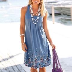 2017 Sexy Women Summer Casual Sleeveless Evening Party Beach Dress Short Mini Dress blue s