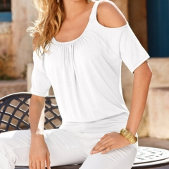 Fashion Women Summer Short Sleeve Tops Cold Shoulder Top Casual T-Shirt Blouse white s