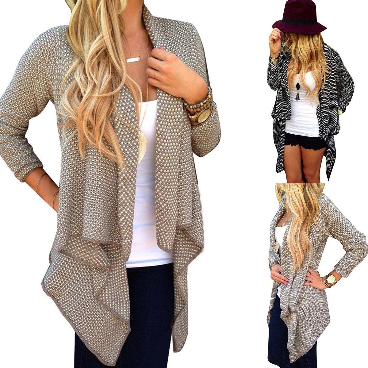 Women Long Sleeve Knitted Cardigan Loose Sweater Outwear Jacket Coat Sweater Top khaki s 2