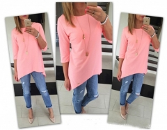 2017 New 5 Design Women Casual Fashion Tops Cotton Blend Blouses Pure Color Long Sleeve T-shirt pink s