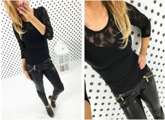 3 Design Plus Size Slim Fitness Women Tops New Sexy Long Sleeve Floral Lace T-shirt black s