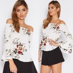 Fashion Womens Summer Long Sleeve Shirt Floral Blouse Loose Chiffon Tops T Shirt white s