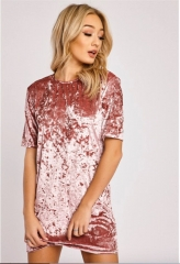 New Womens Ladies Crushed Velvet Casual Tops T Shirt Loose Long Top Blouse Dress pink s