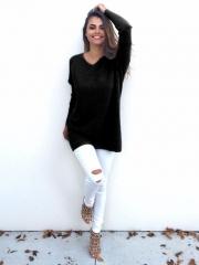 Women Loose Long Sleeve Sweater Ladies Sweatshirt Jumper Pullover Tops Blouse black s