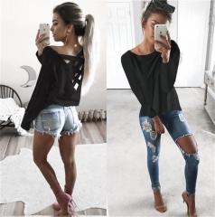 Womens Long Sleeve Sweatshirt Pullover Ladies Casual Tops T-Shirt Blouse black s