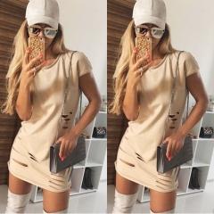 Women RobesShort Sleeve Mini Dress With Holes Package Hip Bodycon Slim T Shirt Dress khaki s