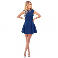 New Sexy Women Summer Casual Sleeveless Evening Party Cocktail Short Mini Dress blue s