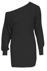Ladies Off Shoulder Ponte Long Sleeve Cuffed Batwing Mini Dress Top Jumper Celeb black s