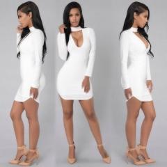 Women's Long Sleeve Bodycon Evening Party Cocktail Short Mini Dress Fashion white s