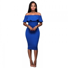 New Fashion Women's Strapless Sexy Bodycon Dress Slash Neck Party Dress blue s