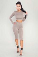 2017 New Women's Long Sleeve Hooded Crop Tops Bodycon Jumpsuit Romper Short Pants khaki s