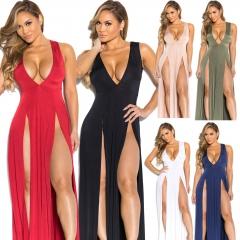 New Summer Europe Sexy Women Maxi Long Deep V Neck Split Bandage Dress Nightclub army green s