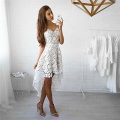 New Beach Lace Dress Women Mini V Neck Dresses Irregular Wear Boho Sexy Sundress white s