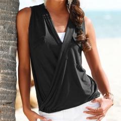 Women Sexy Sleeveless Tops Cross Deep V Neck summer Hollow Out double pocket stitching T-shirt black s
