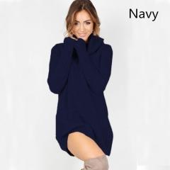 Casual Knitwear Women Autumn Winter O-Neck Full Regular A-Line Short Skirts Sweater Dresses navy s