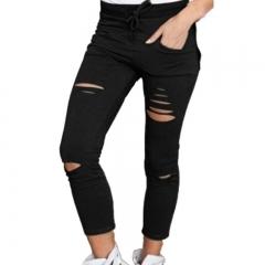 Women Hole leggings Ripped Pants Slim Stretch Drawstring Trousers Pants Army Green Tights Pants black s