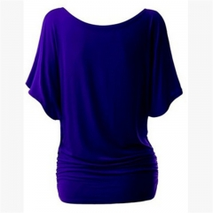 2017 New Cotton T-shirt Women Hot Tops Round Neck Bat Sleeve Tops T Shirt Casual Shirt royal blue s