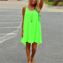 Sexy Women's Summer Casual Sleeveless Evening Party Backless Beachwear Mini Dress green s