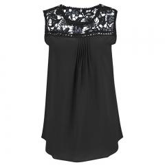 2017 Summer Chiffon Lace Vest Top Sleeveless Blouse Casual Tank Tops T-Shirt black s
