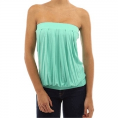 Womens Sleeveless Strapless Tube Tops Bandeau Stretch Ribbed Layering Tank Tops light Green s