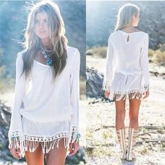 New Fashion Women Summer Casual Lace Evening Party Beach Dress Short Mini Dress white s